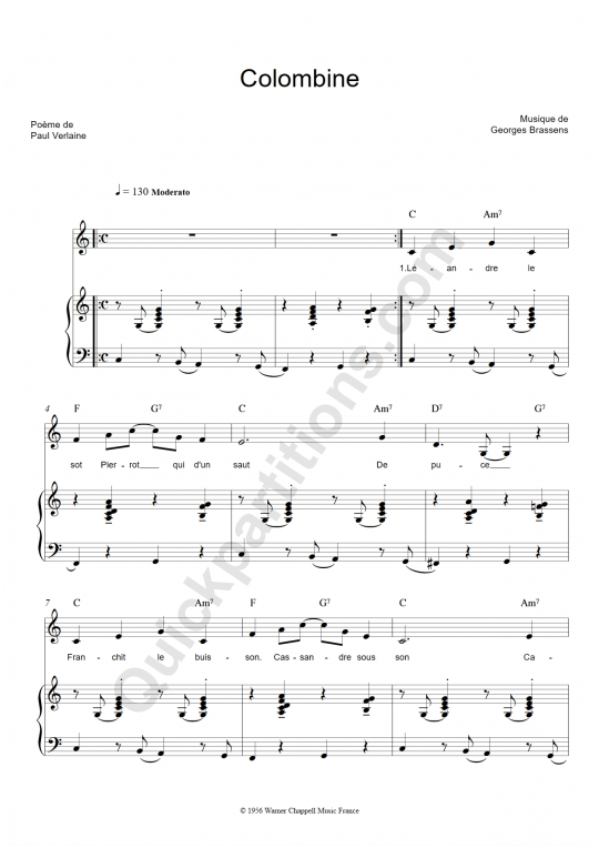 Partition piano Colombine - Georges Brassens