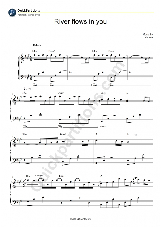 Ukulele ukulele tabs river flows in you : Yiruma sheet music to download and print - World center of digital ...