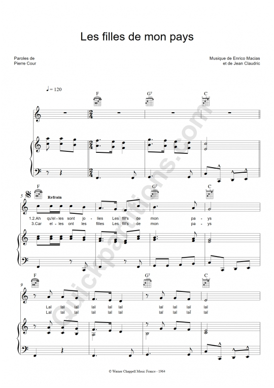 Les filles de mon pays Piano Sheet Music - Enrico Macias