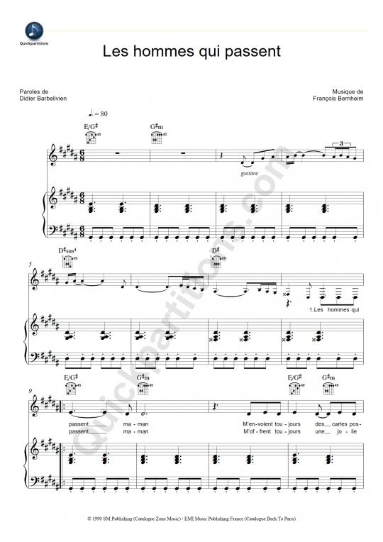 Partition piano Les hommes qui passent - Patricia Kaas