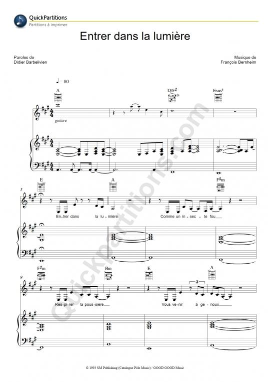 Partition piano Entrer dans la lumière - Patricia Kaas