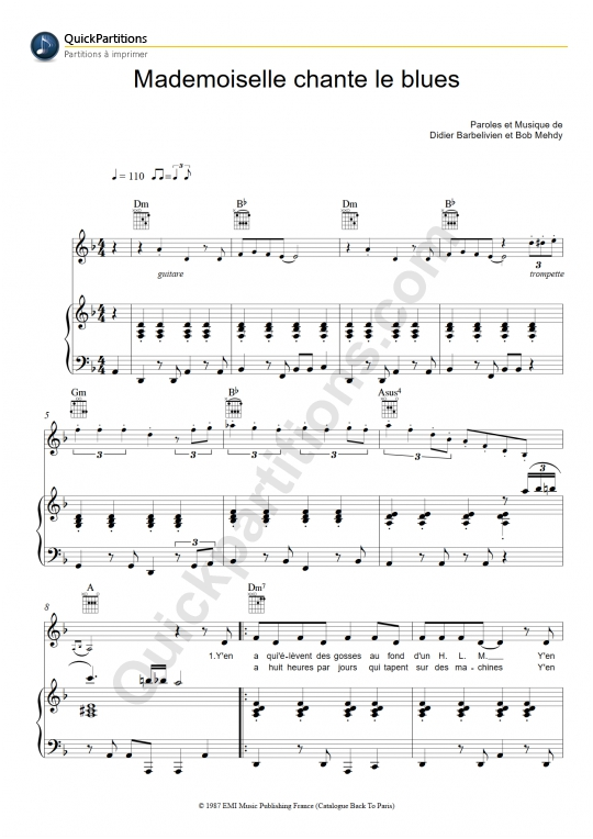 Download Digital Sheet Music of patricia kaas for Piano