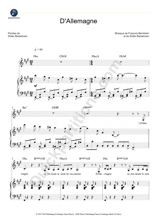 Partition piano D'Allemagne - Patricia Kaas