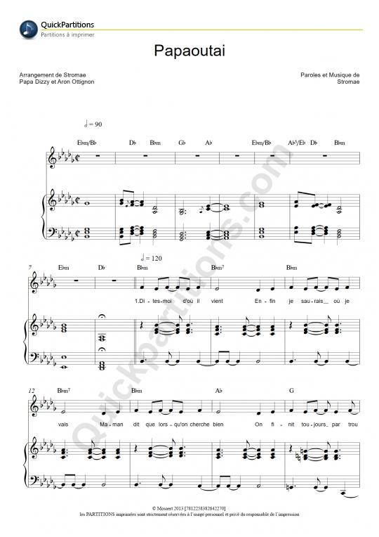 Papaoutai Piano Sheet Music - Stromae