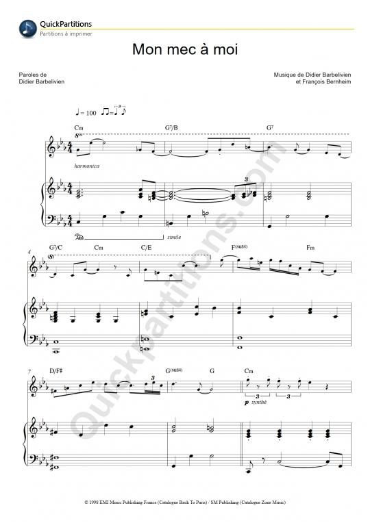 Partition piano Mon mec à moi - Patricia Kaas