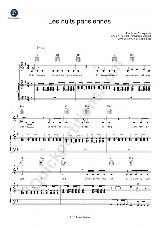 Partition piano Les nuits parisiennes - Louise Attaque