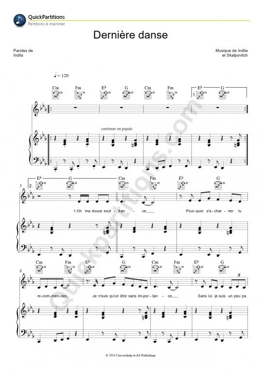 Partition piano Dernière danse - Indila