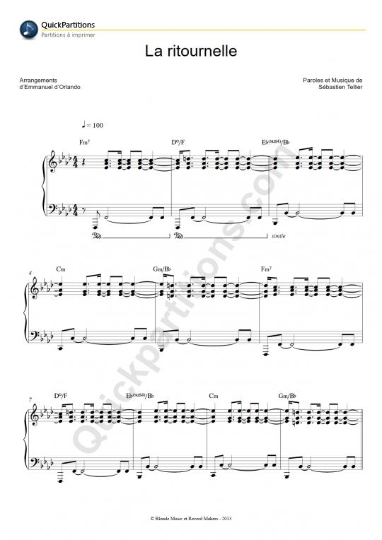 Partition piano La ritournelle - Sébastien Tellier