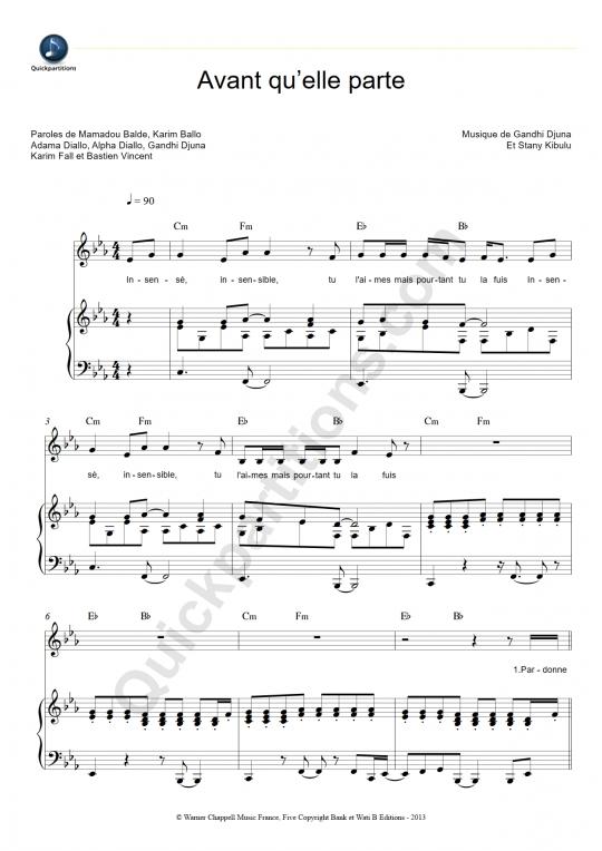 Avant qu'elle parte Piano Sheet Music - Sexion d'assaut