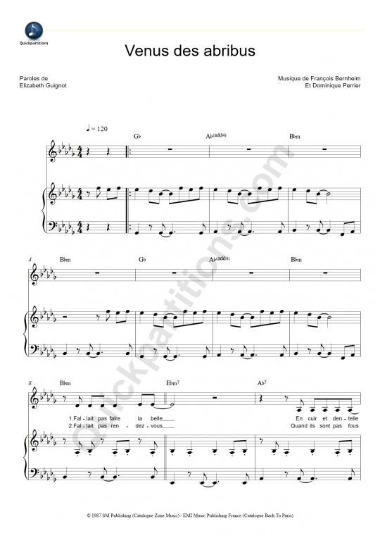 Partition piano Vénus des abribus - Patricia Kaas