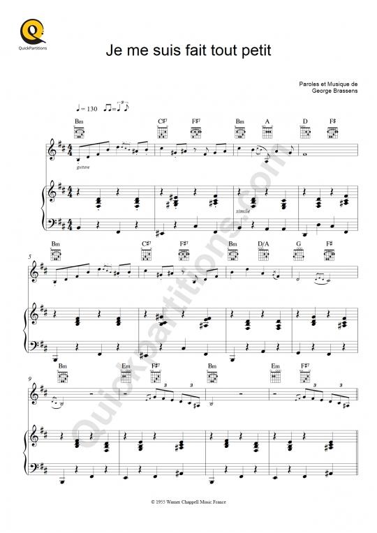 Partition Piano Je Me Suis Fait Tout Petit - Georges Brassens