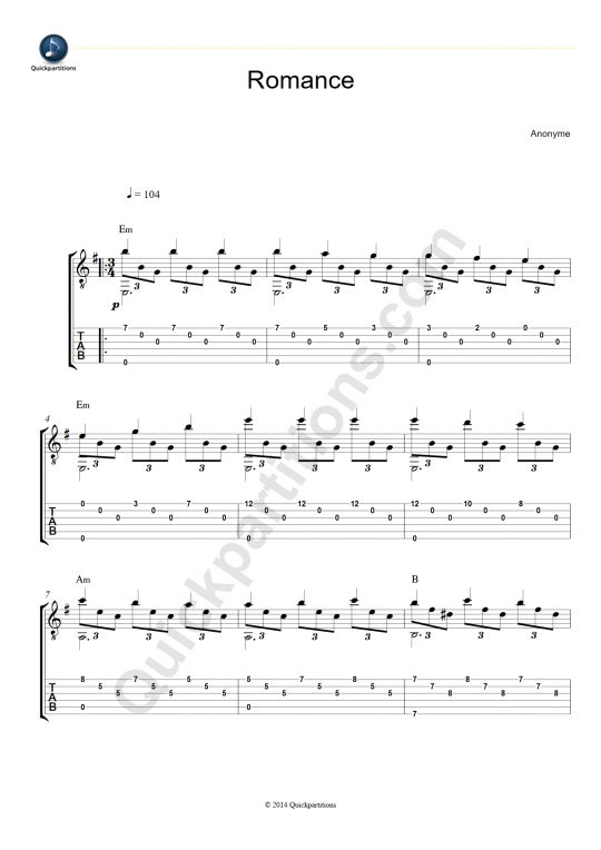 Tablature Guitare Romance (Jeux interdits) - Narciso Yepes