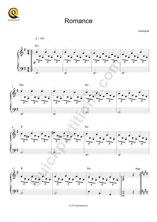 Tablature Guitare Romance (Jeux interdits) - Narciso Yepes