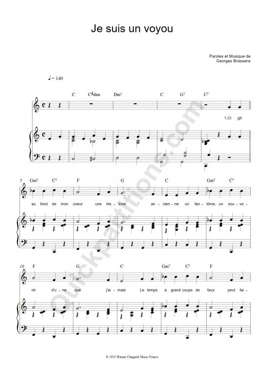 Partition piano Je suis un voyou - Georges Brassens