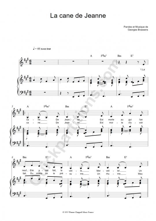 Partition piano La cane de Jeanne - Georges Brassens