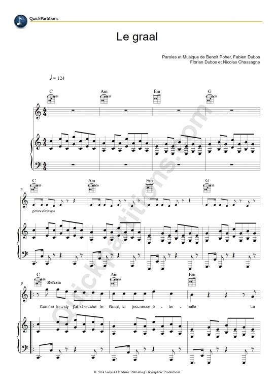 Le Graal Piano Sheet Music - Kyo