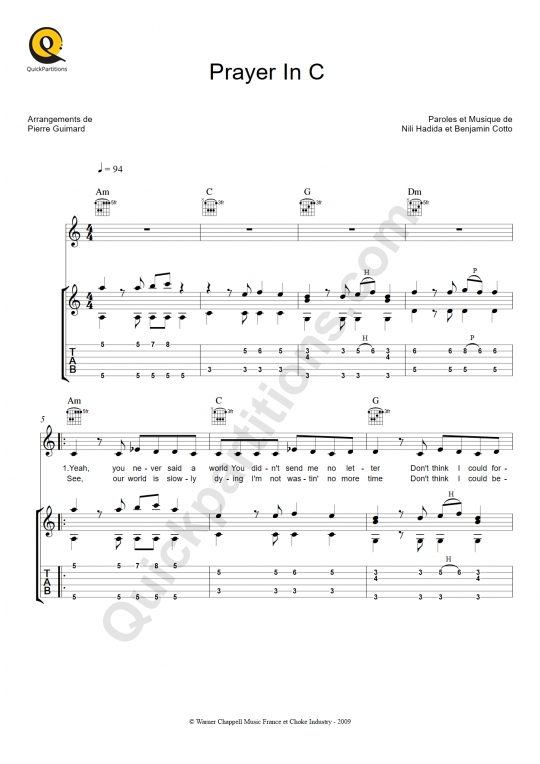 Tablature Guitare Prayer in C - Lilly Wood and The Prick