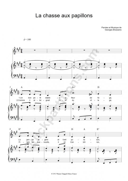 Partition piano La chasse aux papillons - Georges Brassens