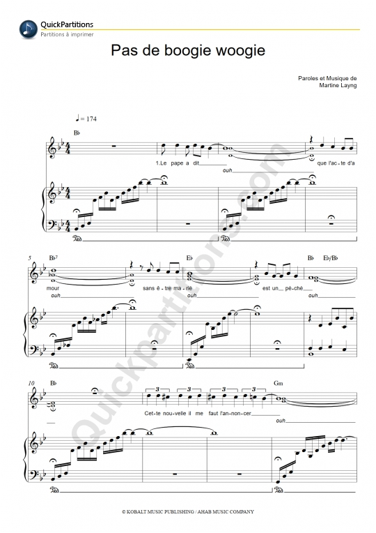 partition piano eddy mitchell