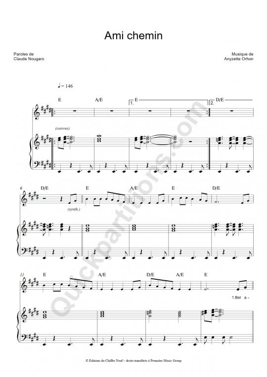 Partition piano Ami chemin - Claude Nougaro