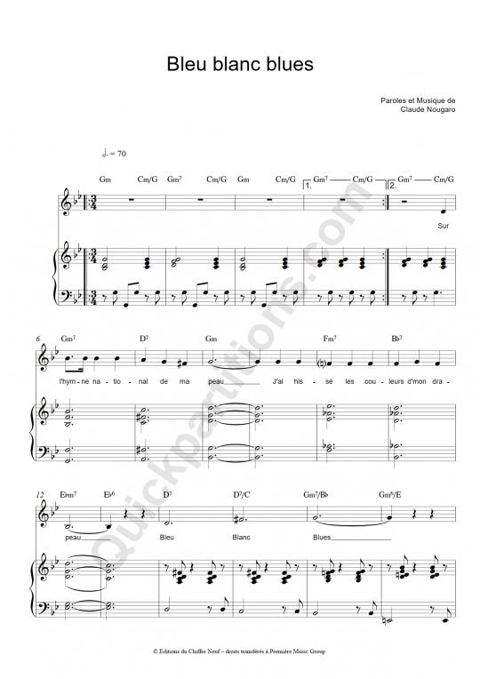 Partition piano Bleu blanc blues - Claude Nougaro