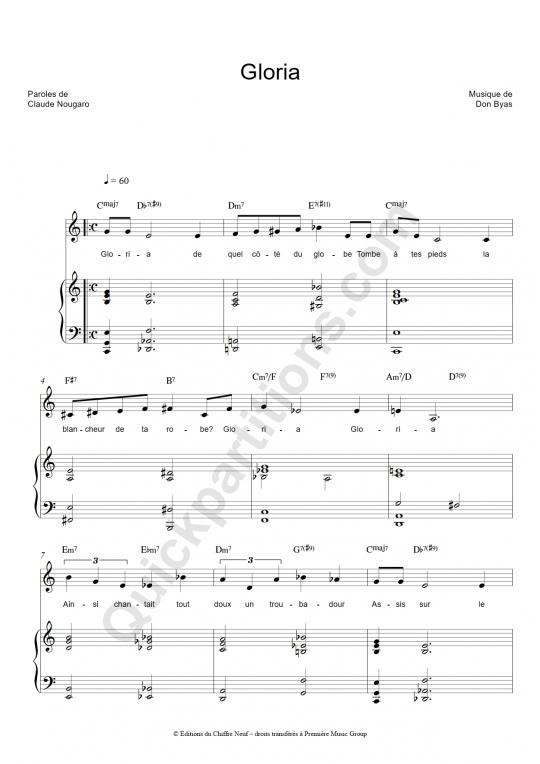 Partition piano Gloria - Claude Nougaro