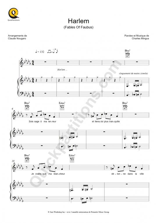 Partition piano Harlem - Claude Nougaro