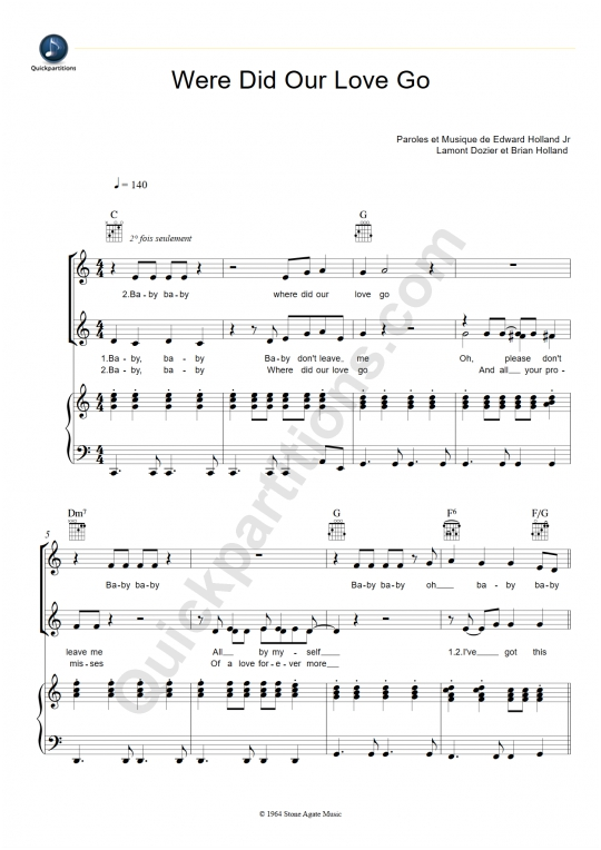 Where Did Our Love Go Piano Sheet Music - The Supremes
