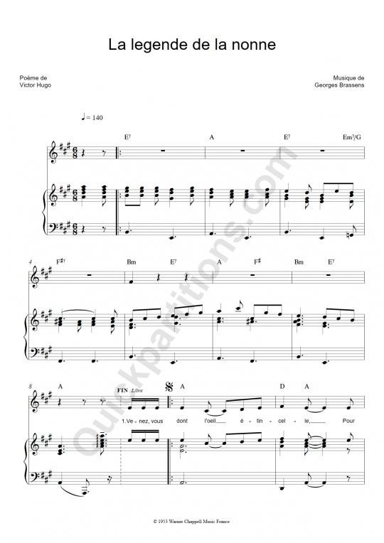 Partition piano La légende de la nonne - Georges Brassens