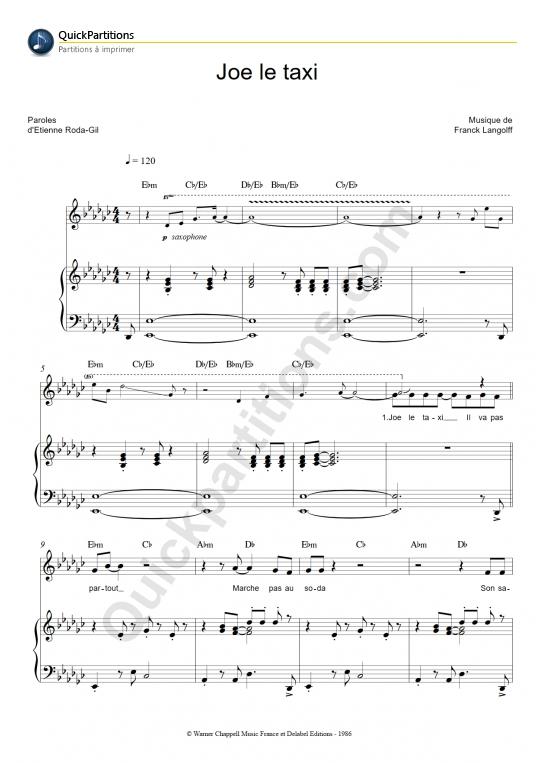 Joe le taxi Piano Sheet Music - Vanessa Paradis