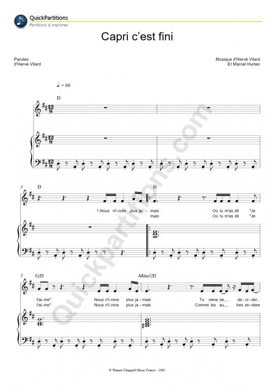 Partition piano Capri c'est fini - Hervé Vilard