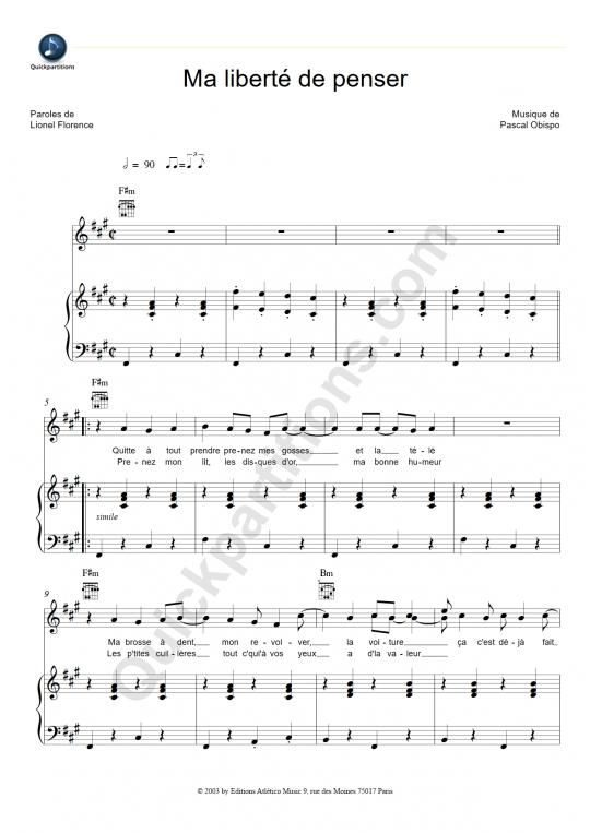 Partition piano Ma liberté de penser - Florent Pagny