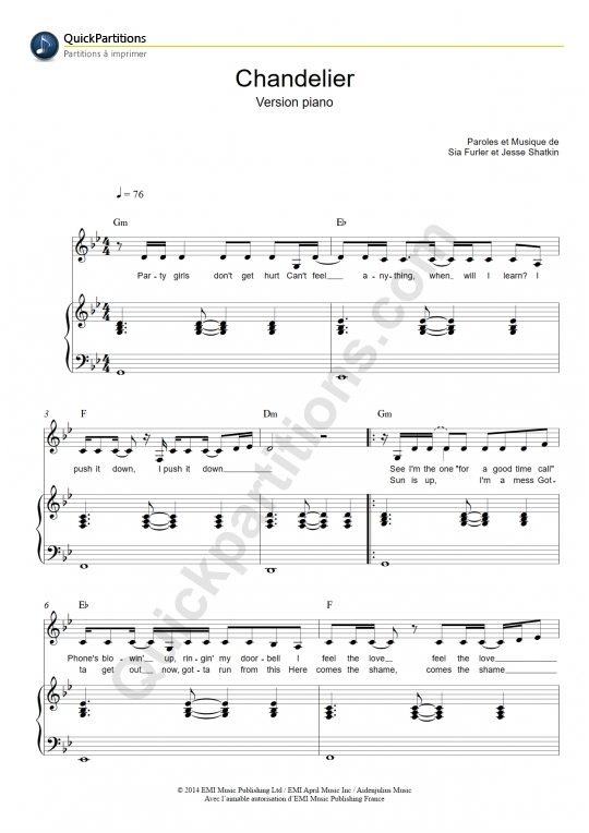 Chandelier (version piano) Piano Sheet Music - Sia (Digital Sheet Music)