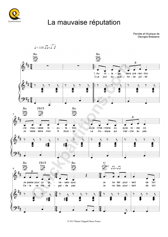 La mauvaise réputation Piano Sheet Music - Georges Brassens