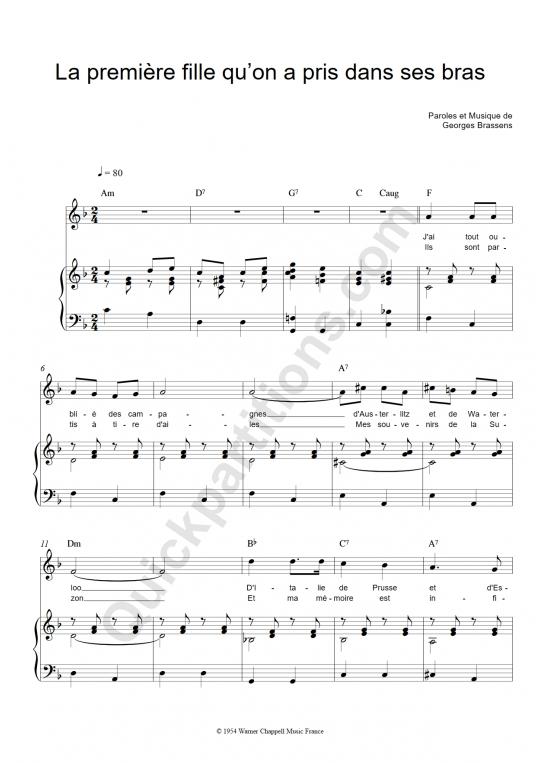 Partition piano La première fille qu'on a pris dans ses bras - Georges Brassens