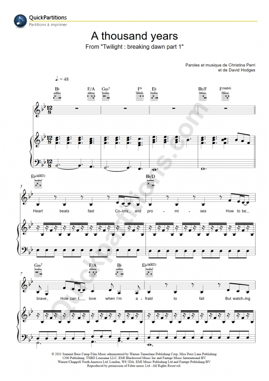 Partition piano A Thousand Years - Christina Perri