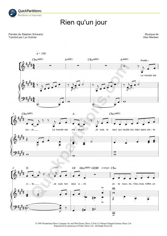 Partition piano Rien qu'un jour - Le bossu de Notre-Dame