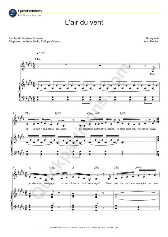 Partition piano L'air du vent - Pocahontas