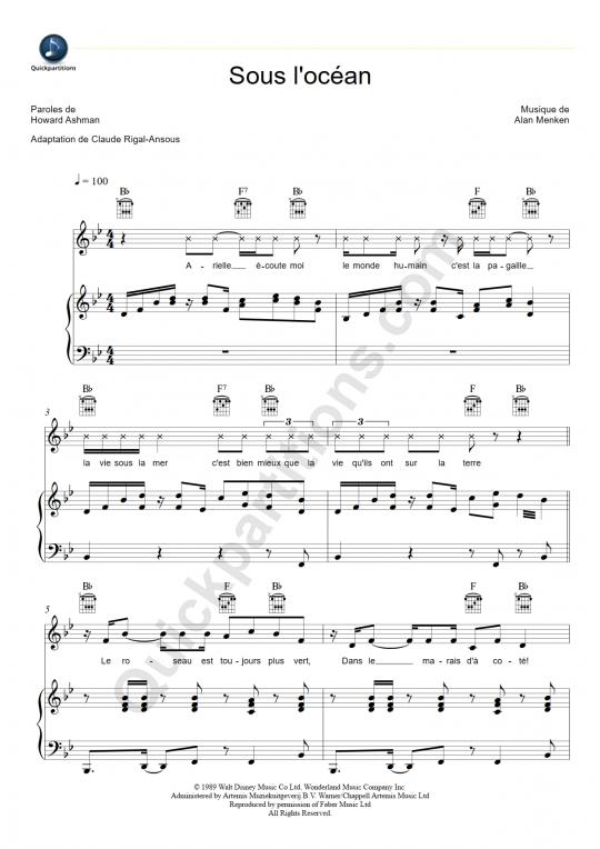 Partition piano Sous l'océan - La petite sirène
