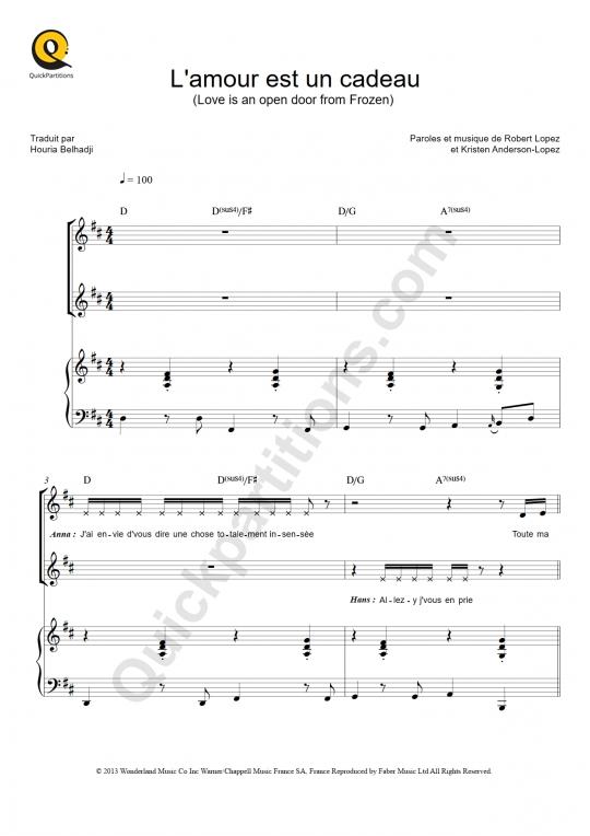 Partition piano L'amour est un cadeau - La Reine des neiges