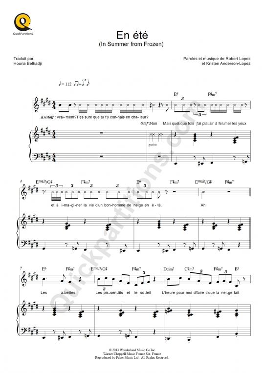 En été Piano Sheet Music - La Reine des neiges