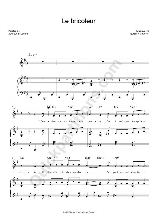 Partition piano Le bricoleur - Georges Brassens
