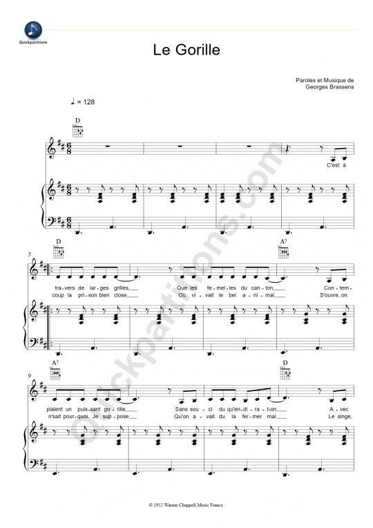 Partition piano Le gorille - Georges Brassens