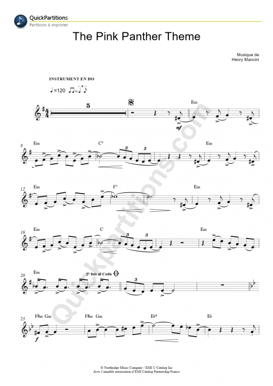 Partition pour Instrument en Do La Panthère Rose (The Pink Panther Theme) - Henry Mancini