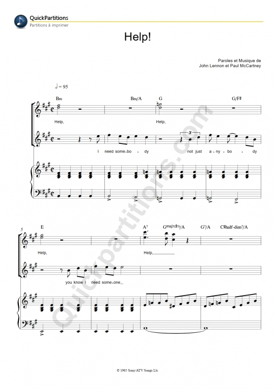 Partition piano Help! - The Beatles