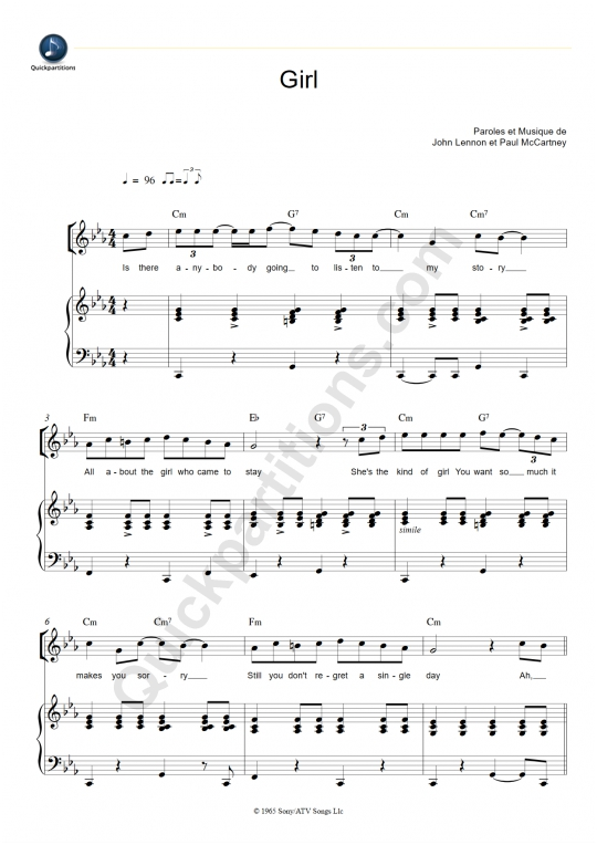 Partition piano Girl - The Beatles