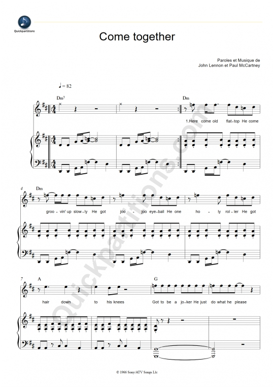Partition piano Come Together - The Beatles