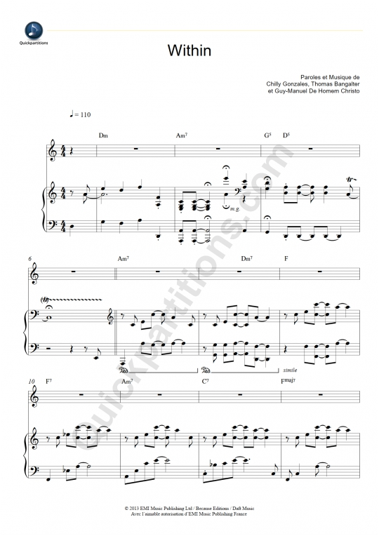 Partition piano Within - Daft Punk
