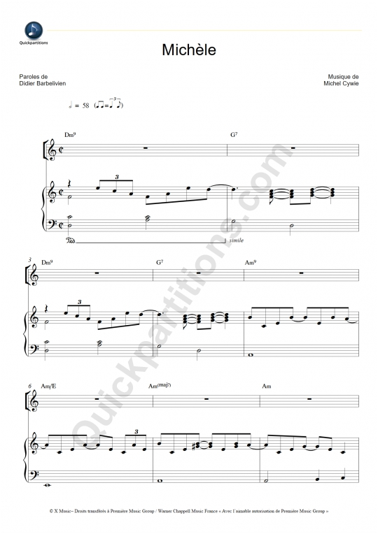 Michèle Piano Sheet Music - Gérard Lenorman