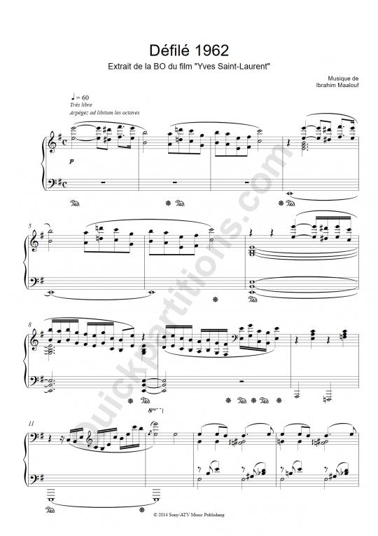 Partition piano Défilé 1962 - Ibrahim Maalouf